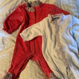 Pair of Jacadi velour jumpsuits